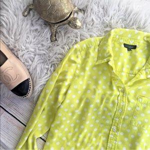 Topshop polka dot yellow and white button down